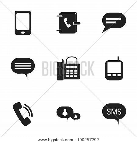 Set Of 9 Editable Gadget Icons. Includes Symbols Such As Transceiver, Message, Forum And More. Can Be Used For Web, Mobile, UI And Infographic Design.