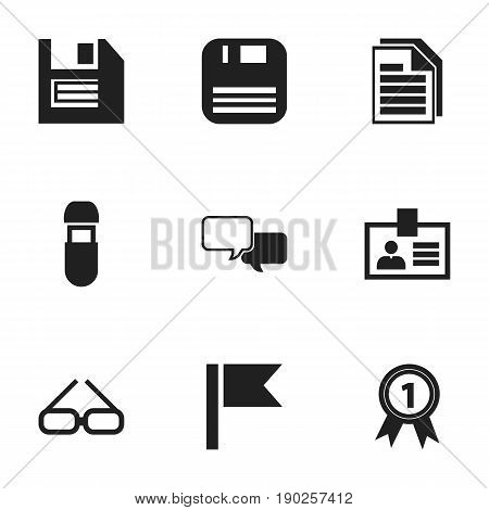 Set Of 9 Editable Bureau Icons. Includes Symbols Such As Spectacle, Authentication, Badge And More. Can Be Used For Web, Mobile, UI And Infographic Design.