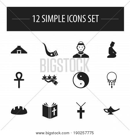 Set Of 12 Editable Dyne Icons. Includes Symbols Such As Cardinal, Diwali, Egyptian Cross And More. Can Be Used For Web, Mobile, UI And Infographic Design.