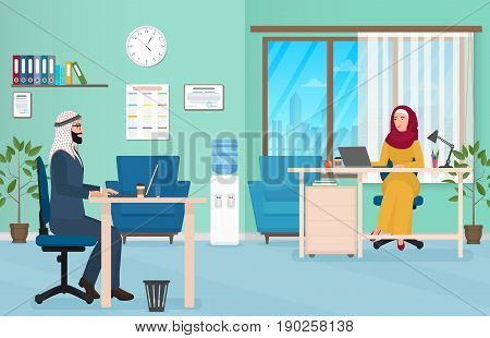Arab Business People in Office. Muslim Arabic male and female Working on the laptop. Vector Illustration