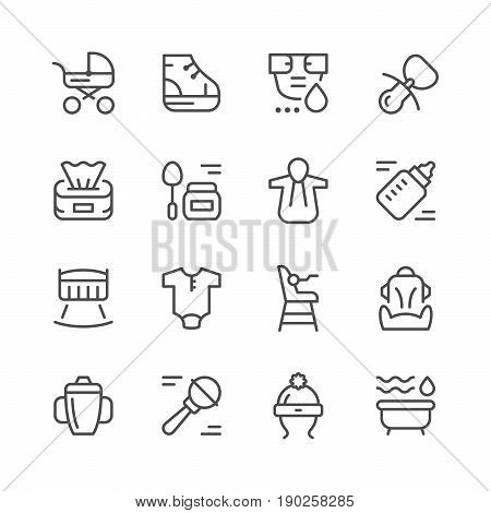 Set line icons of newborn isolated on white. Vector illustration