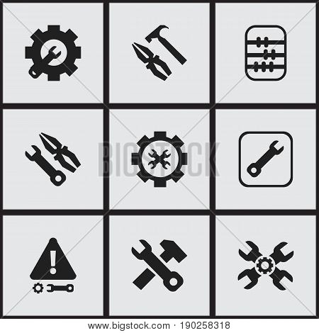 Set Of 9 Editable Repair Icons. Includes Symbols Such As Technical Support, Options, Pliers Hammer And More. Can Be Used For Web, Mobile, UI And Infographic Design.