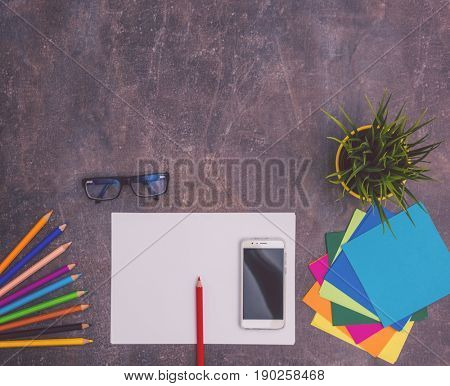 business start up desk with tools