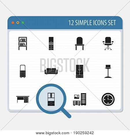 Set Of 12 Editable Furnishings Icons. Includes Symbols Such As Cabinet, Davenport, Wall Mirror And More. Can Be Used For Web, Mobile, UI And Infographic Design.