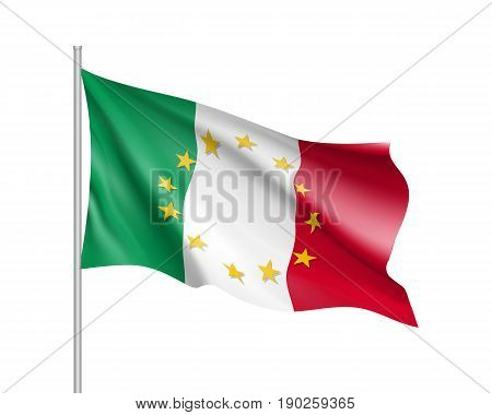 Italy national waving flag with a circle of European Union twelve gold stars, symbol of unity with EU, member since 1 January 1958. Realistic vector illustration