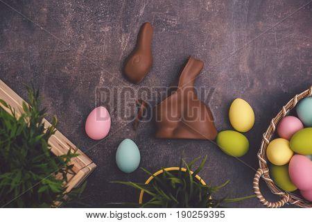 broken easter bunny from chocolate