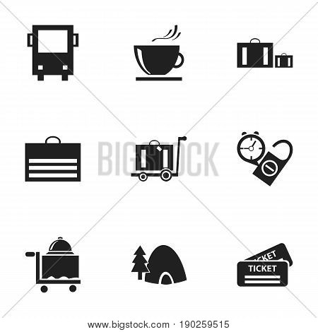 Set Of 9 Editable Travel Icons. Includes Symbols Such As Trading Purse, Briefcase, Baggage And More. Can Be Used For Web, Mobile, UI And Infographic Design.