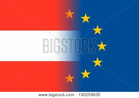 Austria national flag with a flag of European Union twelve gold stars, identity and unity with EU, member since 1 January 1995. Vector flat style illustration