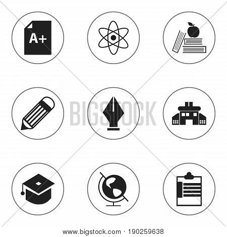 Set Of 9 Editable Knowledge Icons. Includes Symbols Such As Textbook, Earth Planet, Kindergarten And More. Can Be Used For Web, Mobile, UI And Infographic Design.