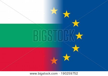 Bulgaria national flag with a flag of European Union twelve gold stars, symbol of unity with EU, member since 1 January 2007. Vector flat style illustration
