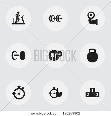 Set Of 9 Editable Active Icons. Includes Symbols Such As Stopwatch, Heavy Training, Jogging And More. Can Be Used For Web, Mobile, UI And Infographic Design.