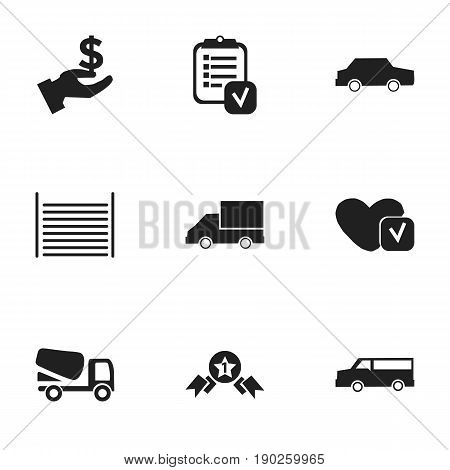 Set Of 9 Editable Complex Icons. Includes Symbols Such As Soul, Van, Questionnaire And More. Can Be Used For Web, Mobile, UI And Infographic Design.