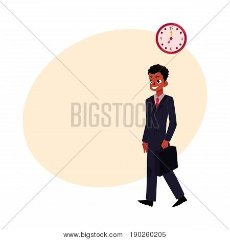 Black, African American smiling businessman in business suit holding briefcase, cartoon vector illustration with space for text. Black businessman, employee going to work in the morning