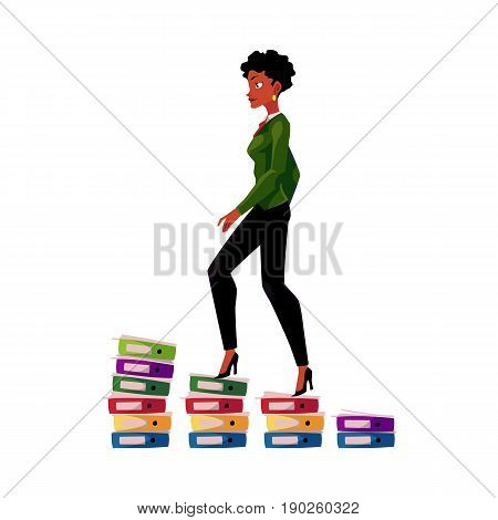 Black, African American businesswoman climbing up career ladder shown as document folder steps, cartoon vector illustration isolated on white background. Folders of documents as career ladder concept