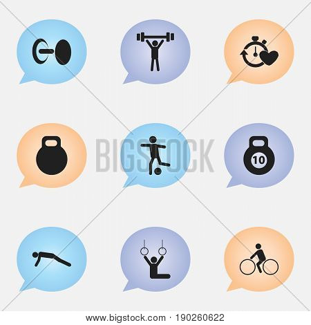 Set Of 9 Editable Fitness Icons. Includes Symbols Such As Strength, Weightiness, Acrobat And More. Can Be Used For Web, Mobile, UI And Infographic Design.