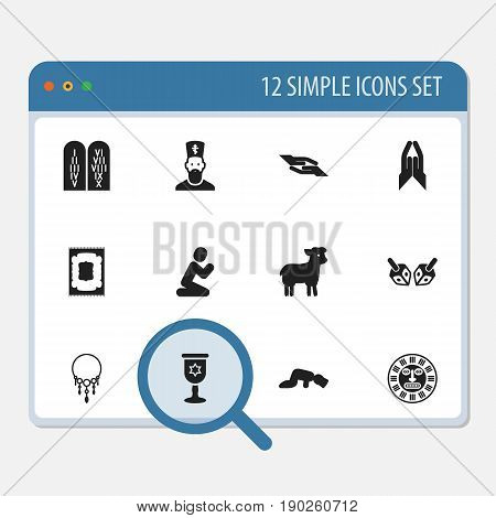 Set Of 12 Editable Faith Icons. Includes Symbols Such As Chaplain, Ancient Stone Text, Muslim Carpet And More. Can Be Used For Web, Mobile, UI And Infographic Design.
