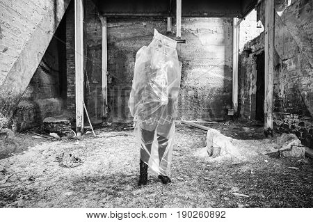 Plastic bag girl trapped screaming violence interior