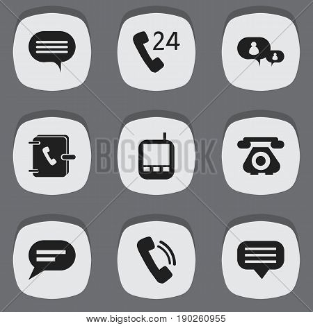 Set Of 9 Editable Phone Icons. Includes Symbols Such As Transceiver, Retro Telecommunication, Talking And More. Can Be Used For Web, Mobile, UI And Infographic Design.