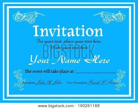 Blue invitation concept design for various occasions