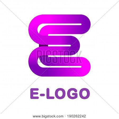Abstract letter E - creative logo template vector illustration. Logo for corporate identity of company of ribbon, closed line of gradient color, tortuous path. Neon glowing letter. Typographical font. Graphic design elements.