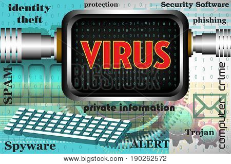 Colorful background with computer keyboard, computer screen and the word virus written on the computer`s screen. Computer virus theme