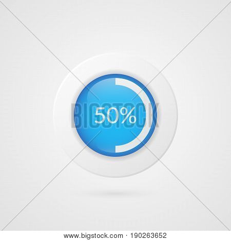 50 percent blue white pie chart. Percentage vector infographics. Circle diagram isolated symbol on gradient background. Business illustration icon for marketing presentation project data report information plan web design