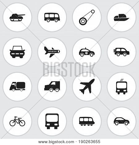 Set Of 16 Editable Transportation Icons. Includes Symbols Such As Motorbus, Weapon, Hatchback And More. Can Be Used For Web, Mobile, UI And Infographic Design.