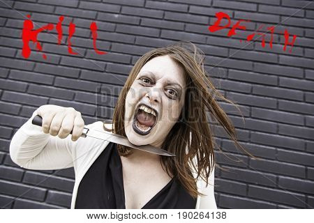 Crazy with knife aggressive and angry terror