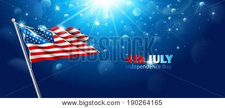 American flag waving in blue sky. Independence Day. Vector