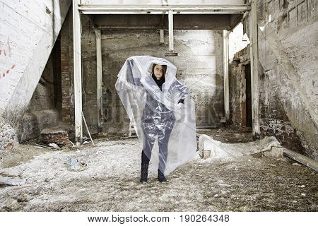 Woman Trapped In Plastic