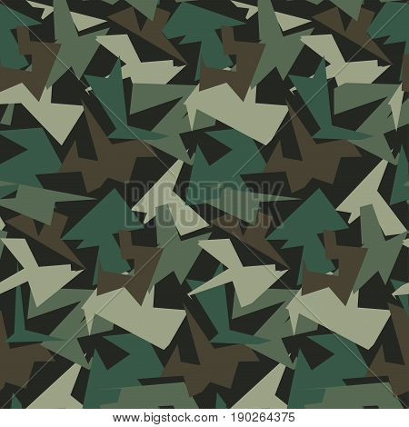 Abstract Color Military Camouflage Background. Pattern of Geometric Triangles Shapes for Army Clothing