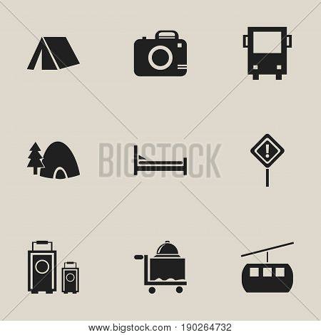 Set Of 9 Editable Trip Icons. Includes Symbols Such As Tabernacle, Caution, Tent And More. Can Be Used For Web, Mobile, UI And Infographic Design.