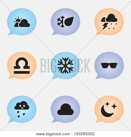 Set Of 9 Editable Weather Icons. Includes Symbols Such As Storm, Clear Air, Hail And More. Can Be Used For Web, Mobile, UI And Infographic Design.