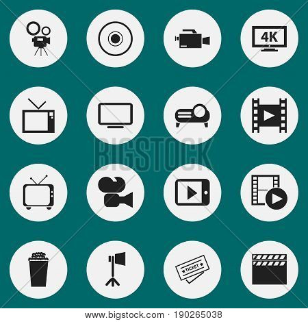Set Of 16 Editable Filming Icons. Includes Symbols Such As Movie Camera, Ultra Display, Record And More. Can Be Used For Web, Mobile, UI And Infographic Design.