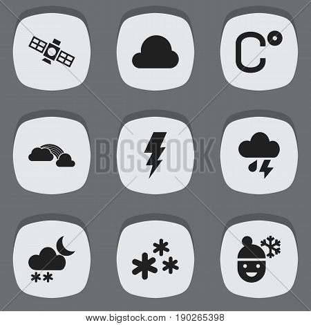 Set Of 9 Editable Weather Icons. Includes Symbols Such As Weather After Rain, Overcast, Celsius And More. Can Be Used For Web, Mobile, UI And Infographic Design.