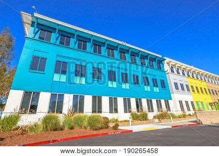 Mountain View, CA, United States - August 15, 2016: colorful facade of big Facebook headquarters building. Facebook is the world leader social network company.