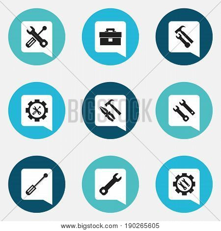 Set Of 9 Editable Service Icons. Includes Symbols Such As Wrench, Service, Screwdriver And More. Can Be Used For Web, Mobile, UI And Infographic Design.