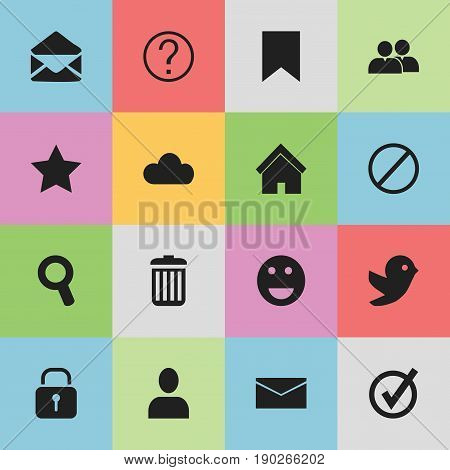 Set Of 16 Editable Internet Icons. Includes Symbols Such As Group, Dove, Mail And More. Can Be Used For Web, Mobile, UI And Infographic Design.