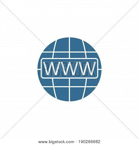 Www and globe internet flat icon, Website browser, vector graphics, a colorful filled pattern on a white background, eps 10.
