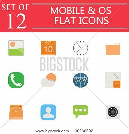 Mobile and OS flat icon set, symbols collection, vector sketches, system interface and applications logo illustrations, colorful signs isolated on white background, eps 10.