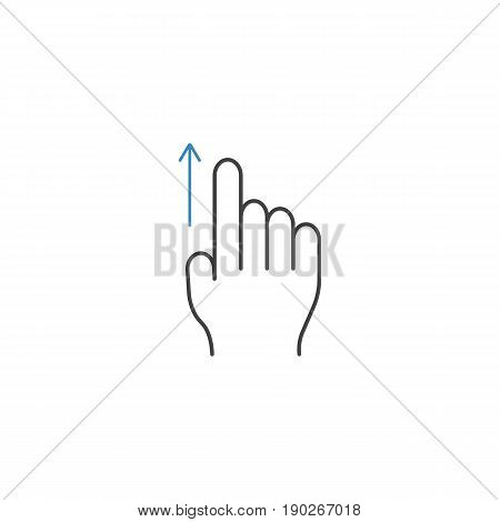 Swipe up finger line icon, touch and hand gestures, vector graphics, a color linear pattern on a white background, eps 10.