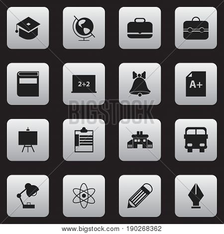 Set Of 16 Editable Education Icons. Includes Symbols Such As Trunk, Portfolio, Molecule And More. Can Be Used For Web, Mobile, UI And Infographic Design.