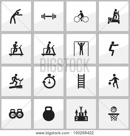Set Of 16 Editable Healthy Icons. Includes Symbols Such As Exercise, Crossbar, Stopwatch And More. Can Be Used For Web, Mobile, UI And Infographic Design.