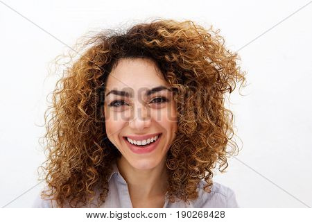 Close Up Young Woman With Curly Hair Smiling Abasing White Background