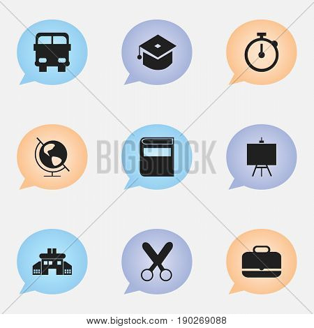 Set Of 9 Editable Education Icons. Includes Symbols Such As Timer , Kindergarten, Painter's Stand. Can Be Used For Web, Mobile, UI And Infographic Design.