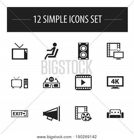 Set Of 12 Editable Cinema Icons. Includes Symbols Such As Camera Tape, Megaphone, Monitor With Processor And More. Can Be Used For Web, Mobile, UI And Infographic Design.