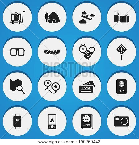 Set Of 16 Editable Journey Icons. Includes Symbols Such As Baggage, Eyeglasses, Camera And More. Can Be Used For Web, Mobile, UI And Infographic Design.