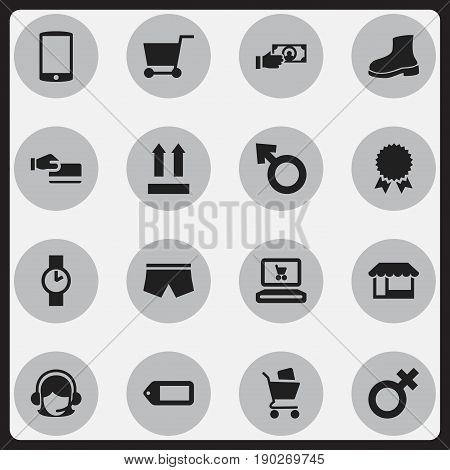 Set Of 16 Editable Shopping Icons. Includes Symbols Such As Medal, O Clock, Grocery And More. Can Be Used For Web, Mobile, UI And Infographic Design.