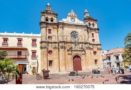 Cartagena, Colombia- March 2, 2017:Church of San Pedro Claver in old town Cartagena Colombia