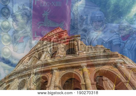 ALBA IULIAROMANIA - APRIL 302017:Double exposure with fisheye view outside the Colosseum and Roman soldiers in background.Antical theatrical scene at APULUM ROMAN FESTIVAL organized by the City Hall